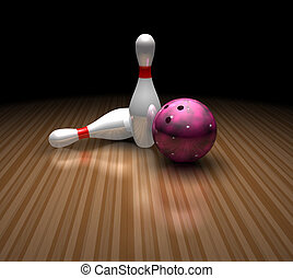 bowling ball and pins - a purple bowling ball stands still...
