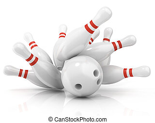 Bowling ball and scattered pin