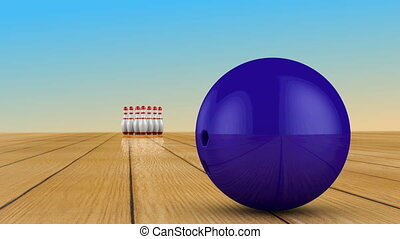 Bowling ball and skittles - Bowling ball crashes into...