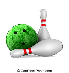bowling ball and skittles on white background. Isolated 3D illustration
