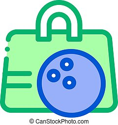 Bowling Ball Bag Icon Vector Outline Illustration