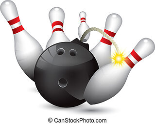 Bowling ball bomb crashing into the pins