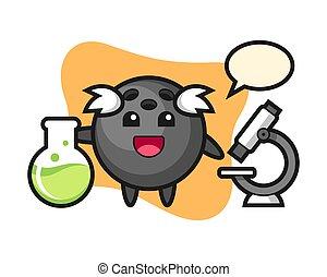 Bowling ball cartoon as a scientist