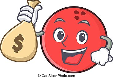 bowling ball character cartoon with money bag