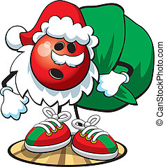 Bowling ball character- Christmas - A vector illustration of...