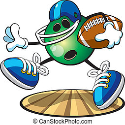 Bowling ball character- Football - A vector illustration of...