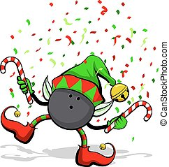 Bowling Ball Christmas Elf - A bowling ball celebrating...