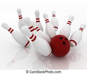 bowling ball crashing into pins