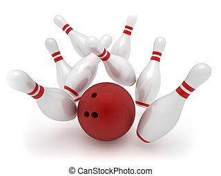 Bowling ball crashing into the pins - 3d render illustration...