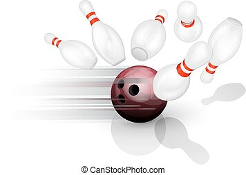 Bowling ball crashing into the pins - Black bowling ball...