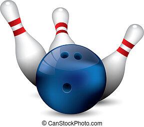 Bowling ball crashing into the pins