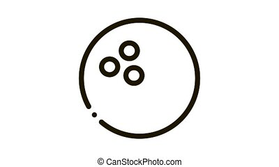 Bowling Ball Icon Animation. black Bowling Ball animated icon on white background