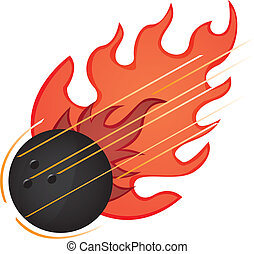 bowling ball - black bowling ball with fire isolated vector...