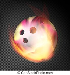 Bowling Ball In Fire Vector Realistic. Burning Bowling Ball. Transparent Background