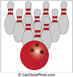 bowling ball pins and the bowling ball in front