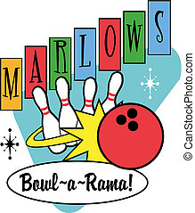 Bowling Ball Pins Retro Clip Art - Bowling ball and pins...