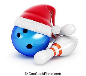 Bowling Ball santa hat on black background. 3d Illustrations