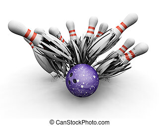 Bowling ball smashing into pins