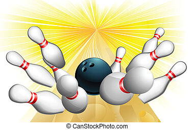 An illustration of a bowling ball scoring a strike
