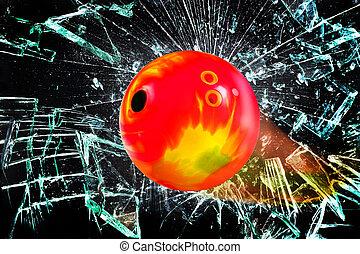 Bowling Ball through broken glass.