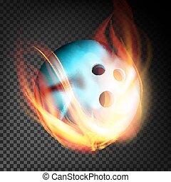 Bowling Ball Vector Realistic. Bowling Ball In Burning Style Isolated On Transparent Background