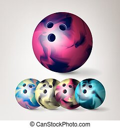 Bowling Ball Vector. Set 3D Realistic Illustration. Colorful Bowling Ball With Shadow.