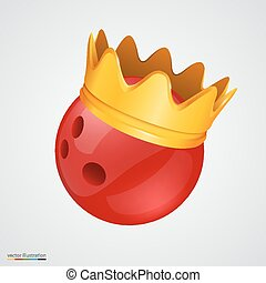 Bowling ball with a golden crown