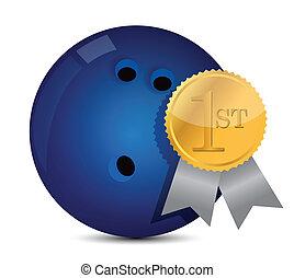 Bowling ball with award