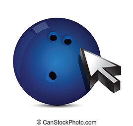 Bowling ball with cursor arrow - sport shopping concept...
