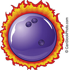 Bowling Ball With Flames - Illustration of a purple bowling...