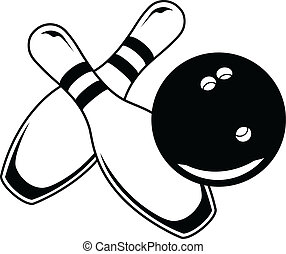Bowling Ball With Two Pins - Graphi - Illustration of a ...