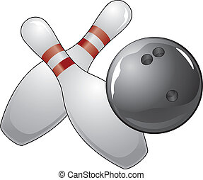 Bowling Ball With Two Pins - Illustration of a black bowling...