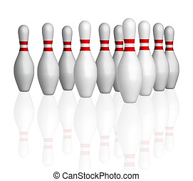 Bowling bowls in row on alley. Illustration isolated with clipping path, see in path palette.