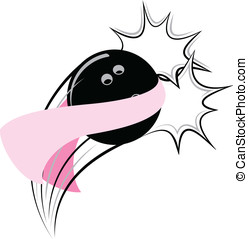 Bowling Breast Cancer Pow - Vector illustration of a bowling...