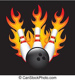 bowling burn over black background vector illustration