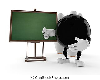 Bowling character with blank blackboard