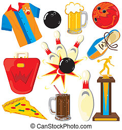 Bowling Clipart Icons and Elements