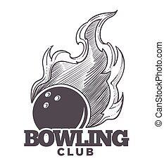 Bowling club logo, monochrome sketch outline icon with ball
