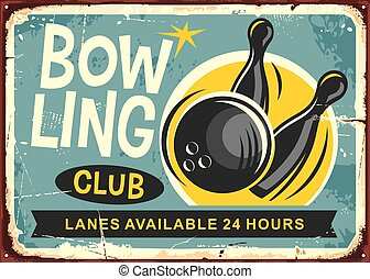 Bowling club retro poster design with bowling ball hits the...