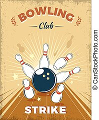 Bowling Club Retro Style Design