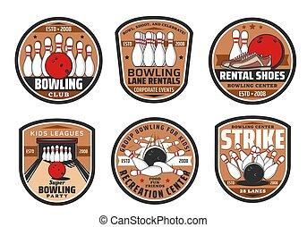 Bowling club, sport game icons