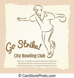 Bowling club vintage poster