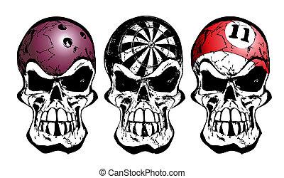 bowling, darts and billiard skulls - illustration of three...