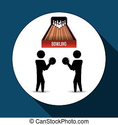 Bowling design. Sport icon. Flat illustration , vector