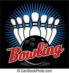 bowling design with pins and bowling ball