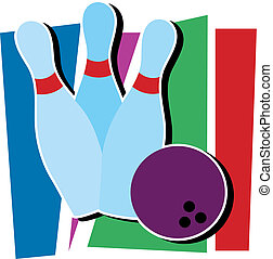 Bowling Ding - Three bowling pins and a bowling ball