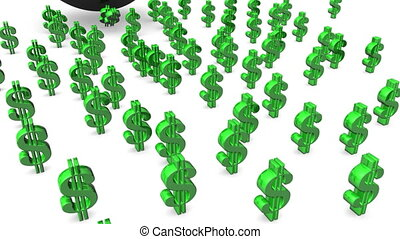 Bowling Dollar Signs - Computer generated image. HD 16:9...