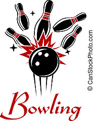 Expressive bowling emblem or logo with smashing ball and ninepins isolated on white colored background for sport or recreation design