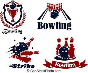 bowling, emblems, en, symbolen