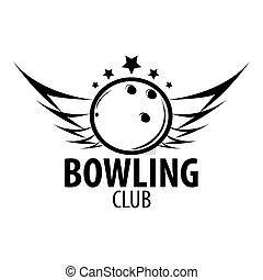 Bowling emblems, labels, badges and designed elements. Black...